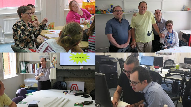 4 photos of people working together in self-advocacy sessions