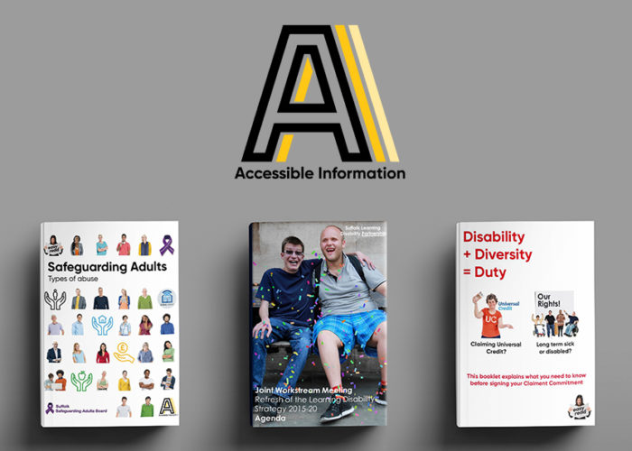 Accessible information logo with various easy read booklets