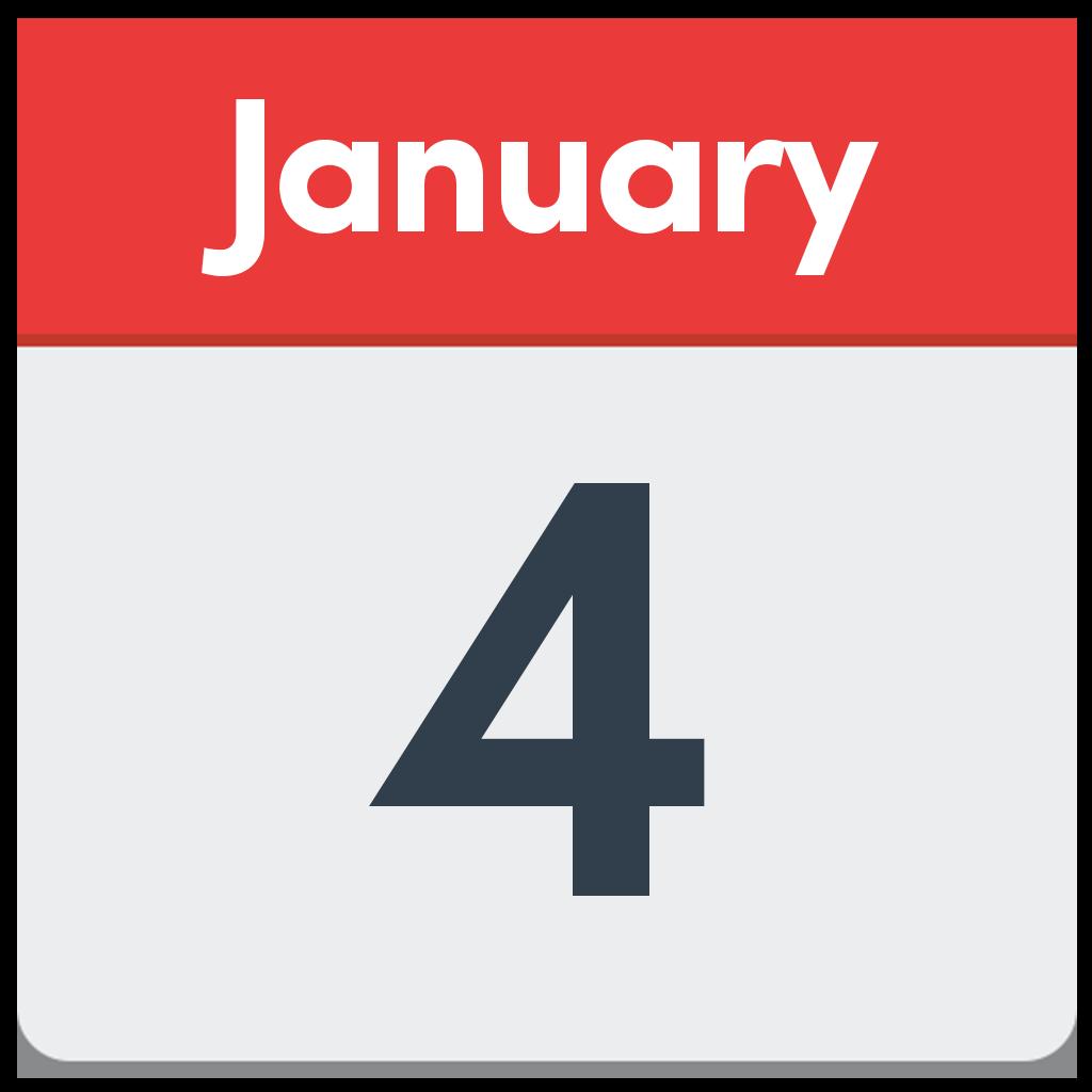 January 4 Calendar.